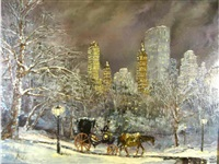 hansom cab night ride through central park by robert lebron