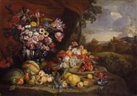 früchtestillleben in einer landschaft by abraham brueghel