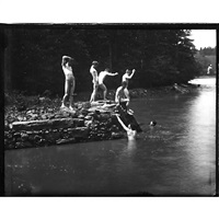 study for the swimming hole (2 works) by thomas eakins