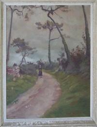 bretonne sur un chemin à loctudy by émile bernard