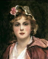 portrait of a young woman wearing a red cloak by consuelo fould