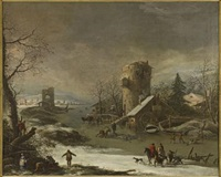 a snow covered river landscape with figures and animals by adam de colonia