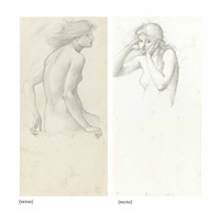 two studies of hill fairies for the sleep of king arthur in avalon (recto and verso) by edward burne-jones