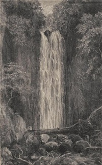 waterfall, nichols creek, dunedin (+ nichols creek, dunedin; pair + 2 others, smaller; 4 works) by e. sandys