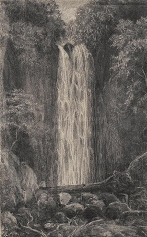 waterfall nichols creek dunedin nichols creek dunedin pair 2 others smaller 4 works by e sandys