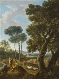 goat herders in an italianate landscape by andrea locatelli