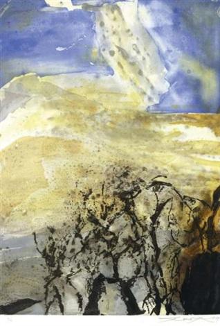 composition bleue et jaune by zao wou-ki
