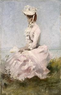 femme en robe rose, assise regardant la mer by jules chéret