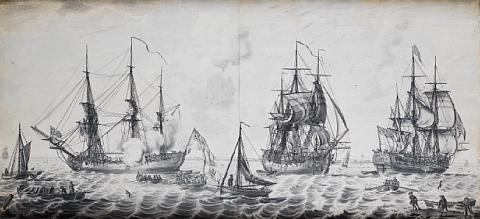 sailors embarking on men owar before a british fort by john hood
