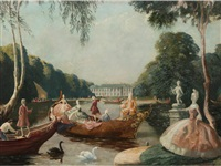 baroque figures on a boating lake by anna katrina zinkeisen