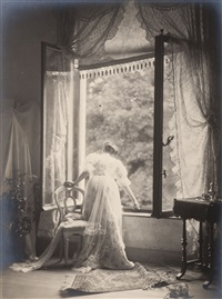 madame misonne à sa fenêtre by léonard misonne