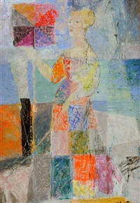 l'élégante à la robe à carreaux multicolores by cricor garabetian