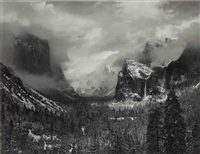 clearing winter storm, yosemite national park, c. 1940 by ansel adams