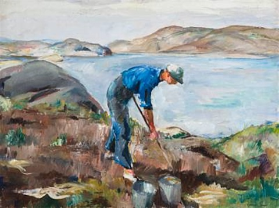 man hoeing (markarbeid) by henrik louis lund