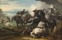 getümmel einer reiterschlacht im pulverdampf vor weitem landschaftshintergrund by georg philipp rugendas the elder