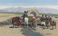 at the well, caucasus by richard karlovich zommer