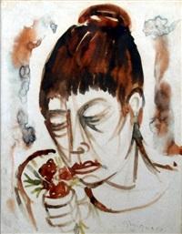 figura con mazzo di fiori by giuseppe migneco