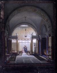 intérieur de villa romaine animé by jean-claude rumeau