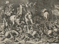 la bataille de scipion contre hannibal dite la bataille des éléphants by cornelis cort