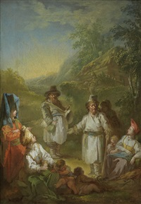 figures in russian costume by jean-baptiste le prince