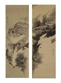 tiger and dragon (pair) by kishi ganku