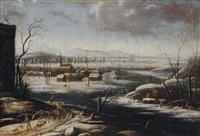 bergers et troupeaux traversant un paysage sous la neige by jan wildens