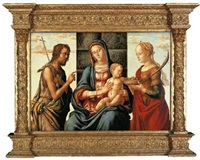 the madonna and child enthroned with saints john the baptist and dorothy by lazzaro di jacopo bastiani