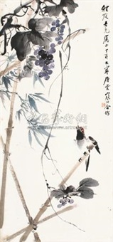 葡萄竹雀 (mynah and grape vines) by tang yun and jiang hanting