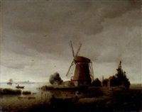a coastal landscape with a windmill by karl adloff