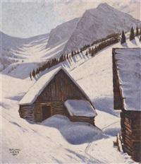 alm im winter by bruno hess
