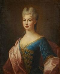 portrait de jeune femme en robe bleue brodée by pierre gobert
