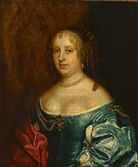 a portrait of a woman, thought to be lady halfhyde, wife of sir thomas halfhyde by william dobson
