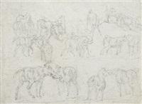 feuille d'étude de chevaux (study) by théodore géricault