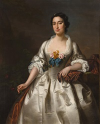 a portrait of a lady in a white dress (mrs. william wright?) by andrea soldi