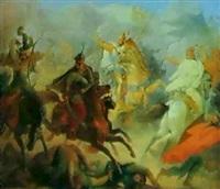 tod des herzogs luitpold in der schlacht bei pressburg   907 by wilhelm lindenschmit the elder