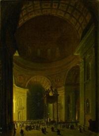 l'intérieur de la basilique saint-pierre animée de nombreux personnages by frans vervloet
