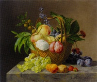 grapes, apples, cherries and other fruit with flowers in basket, walnut, plums, apricots and grapes on marble ledge by anthony oberman