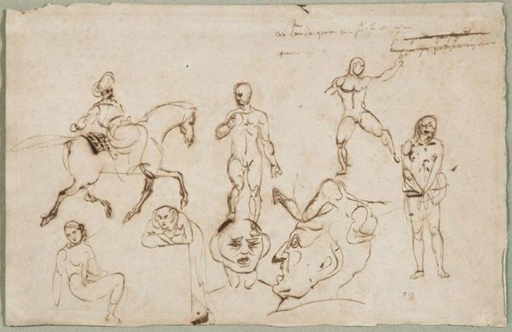 cavalier oriental et personnages study by eugène delacroix