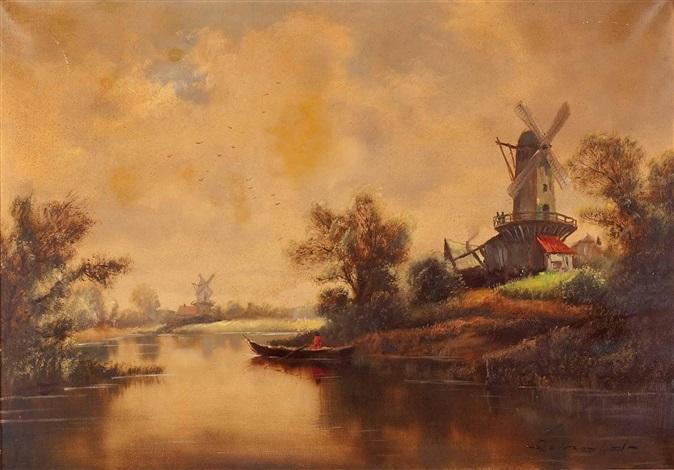 holländische landschaft by josef kamenitzky steiner