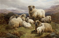 sheep in a highland landscape by william r.c. watson