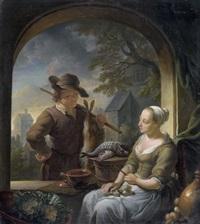 chasseur conversant avec une cuisinière by louis de moni