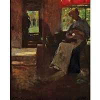 untitled - peeling potatoes by florence carlyle