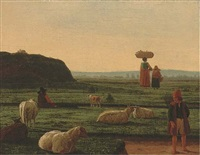 a shepherd and his flock with farm hands by joachim govertsz camphuysen