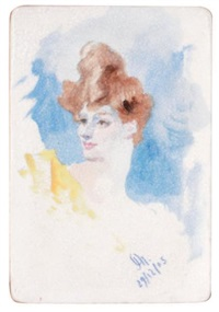 la baronne vitta en buste (+2 others; 3 works) by jules chéret