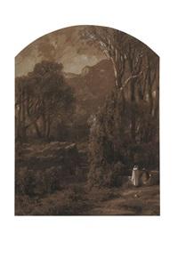 paysage orientaliste animé by vincent joseph françois courdouan