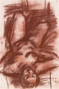 liegender weiblicher akt - kopf vorne by rudolf wacker