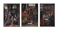 the nativity; the three warriors before david with water from the well near the gate of bethlehem; and the adoration of the magi (3 works) by marcellus coffermans