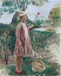 jeune fille cueillant des fruits by paule gobillard