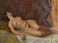 reclining nude by ruskevich vecheslav konstantinovich