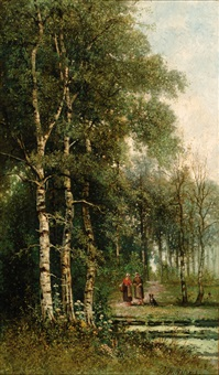 figures in a forest by johannes warnardus bilders